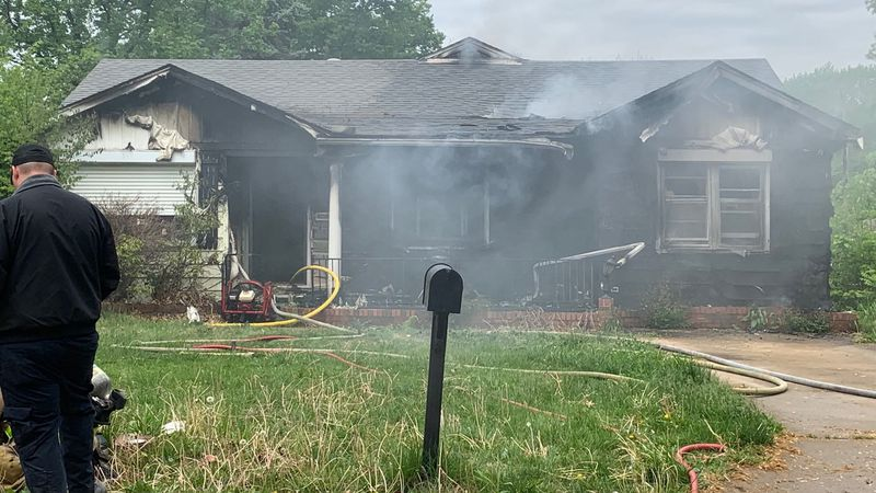 Crews battle a blaze in the 2800 block of Wisconsin Ave. on Friday, May 7.