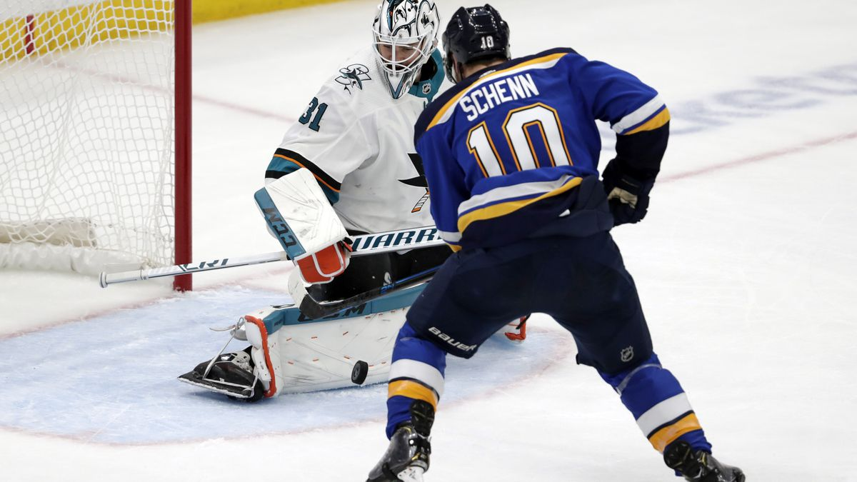 St. Louis Blues center Brayden Schenn (10) scores against San Jose Sharks goaltender Martin Jones (31) during the second period in Game 6 of the NHL hockey Stanley Cup Western Conference final series Tuesday, May 21, 2019, in St. Louis.