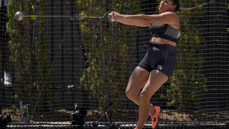 Janee Kassanavoid competes during the prelims of the women's hammer throw at the U.S. Olympic...