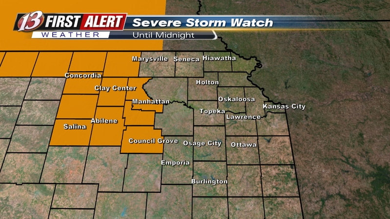 Severe Storm Watch until midnight for the counties in orange.