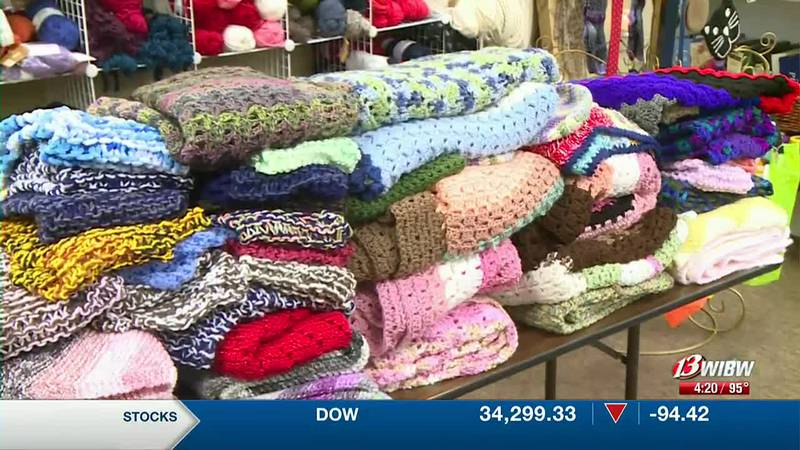 Karen Taylor wants to deliver knitted, crocheted goods to groups who can use it.
