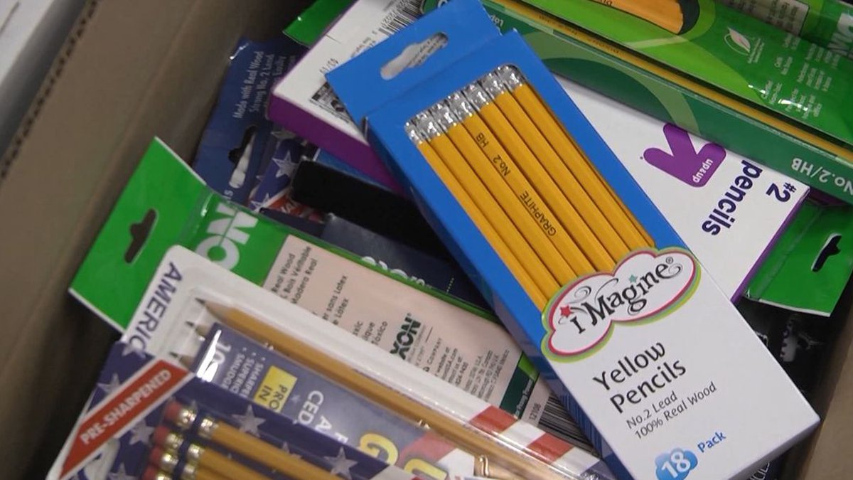 A dozen local churches are among groups taking part in a drive-through school supply giveaway...