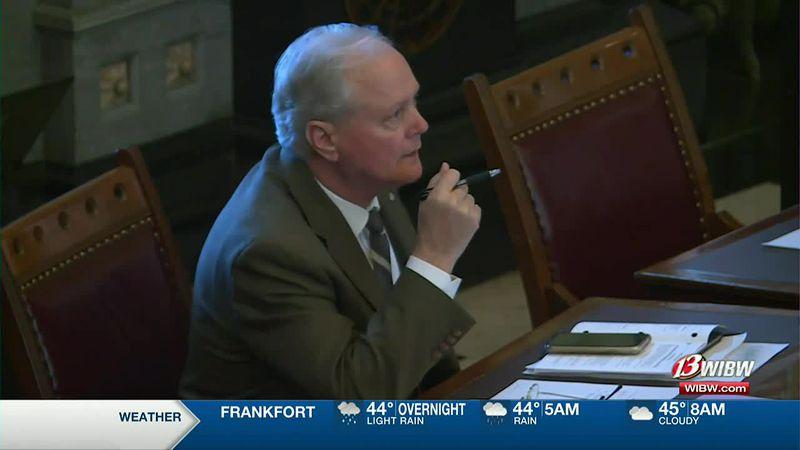 Kansas Lawmakers reacts after Republican caucus votes to oust Sen. Gene Suellentrop as majority...