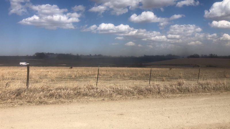 Grassfire near Lasita Road and Fairview Church Road west of Leonardville Kansas