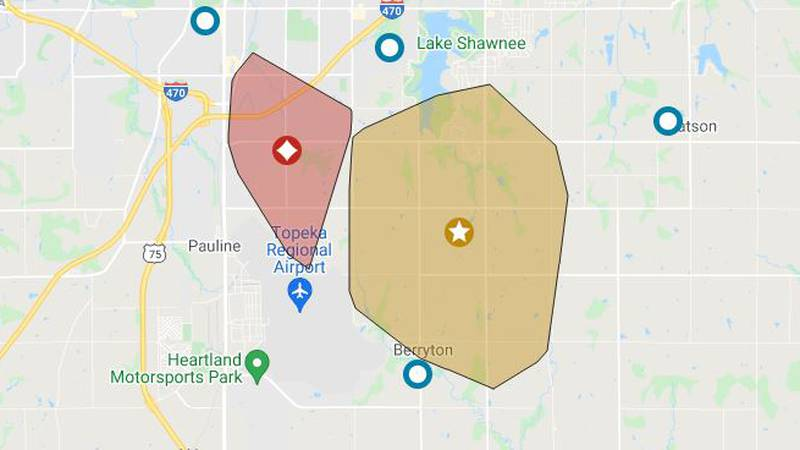 Evergy Outage map shows a large portion of SE Topeka without power Wednesday morning.