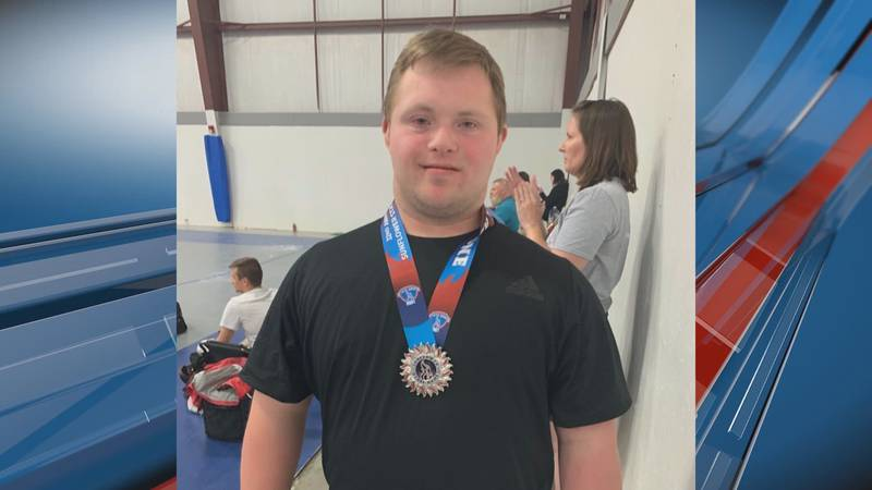 Special Olympic Athlete Luke Gerhardt won a Silver Medal in the Sunflower State Games as a...