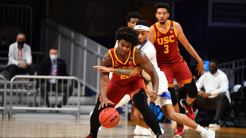 INDIANAPOLIS, IN - MARCH 22: The Kansas Jayhawks take on the USC Trojans in the second round of...