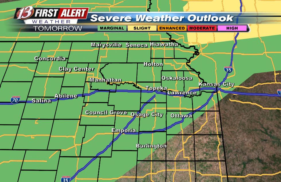 Hail/wind risk with storms Friday night
