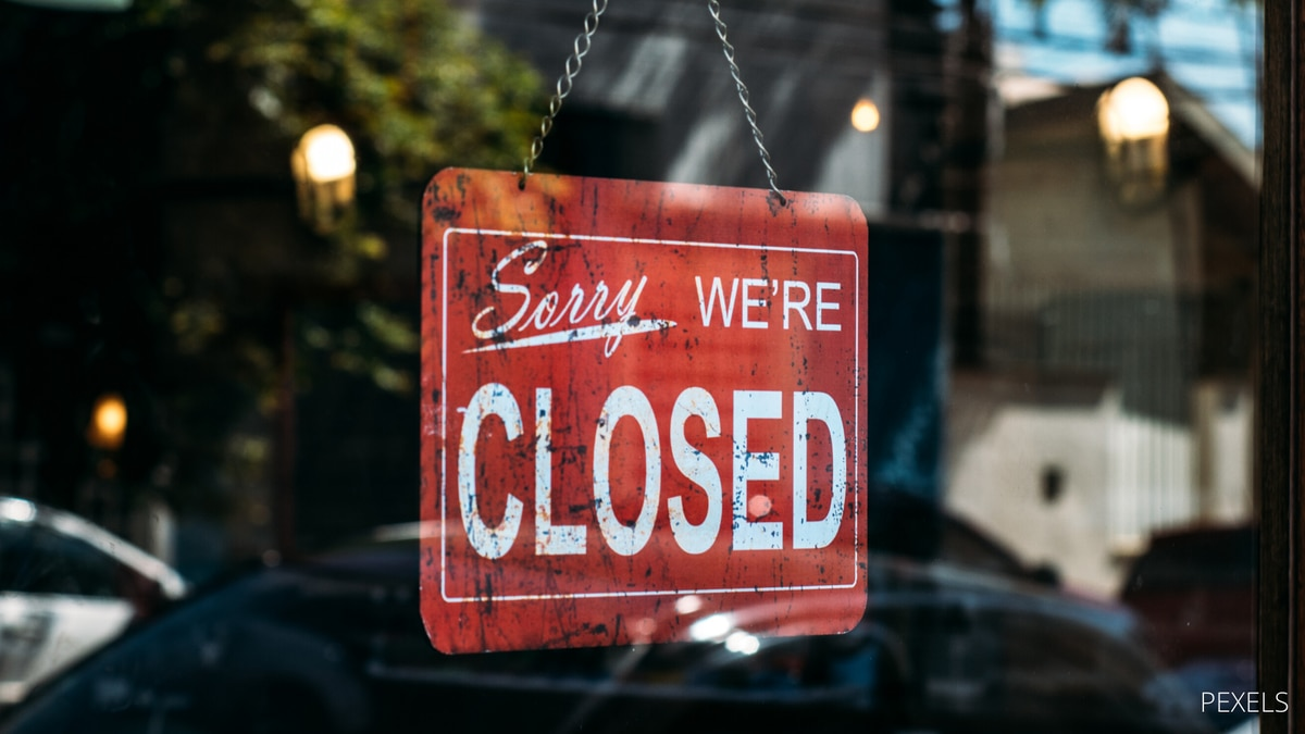 """""""Sorry, We're Closed"""" sign"""