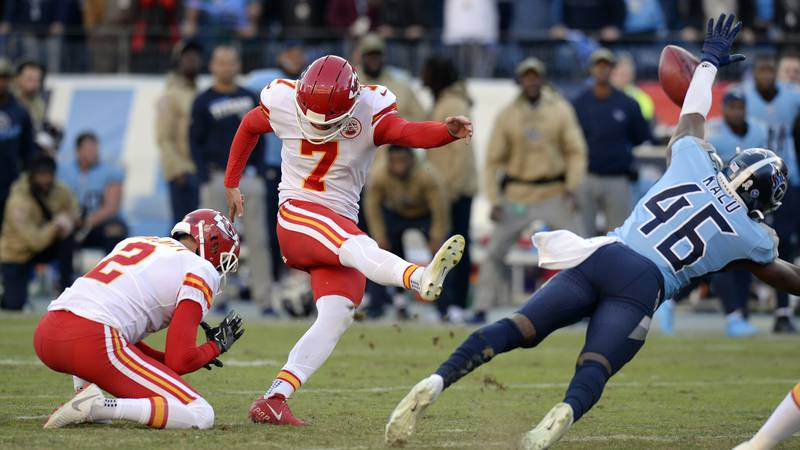 Tennessee Titans defensive back Joshua Kalu (46) blocks a 52-yard field goal attempt by Kansas...