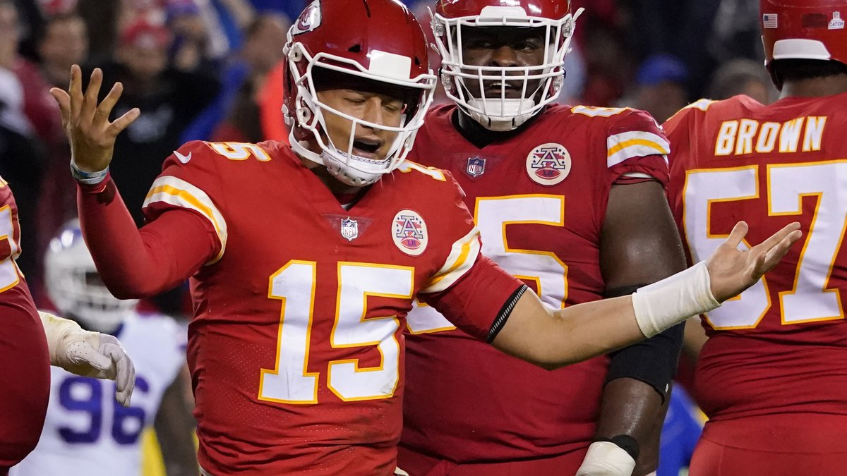 Kansas City Chiefs quarterback Patrick Mahomes reacts during the second half of an NFL football...