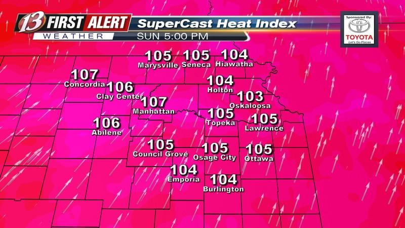 Heat index forecast at 5 PM Sunday.