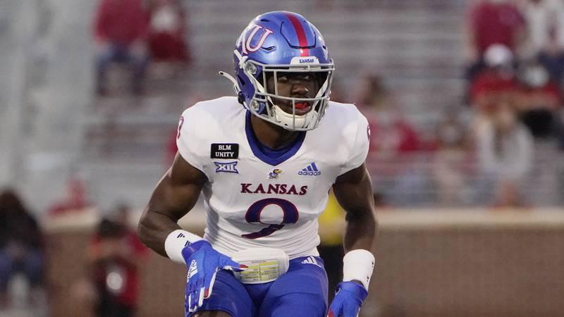 Kansas cornerback Karon Prunty (9) during an NCAA college football game against Oklahoma in...