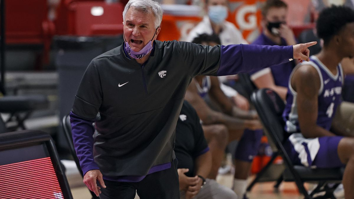 Kansas State coach Bruce Weber yells out to his players during the second half of an NCAA...