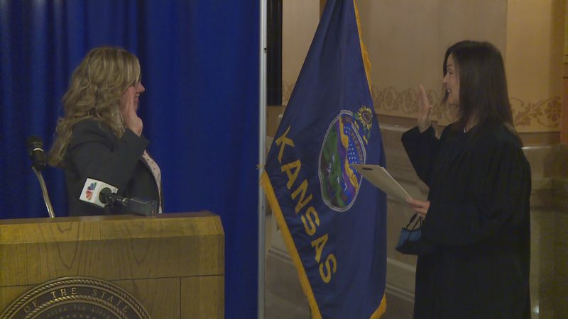 Kansas Department of Labor Secretary Amber Shultz takes her oath of office. (April 16, 2021)