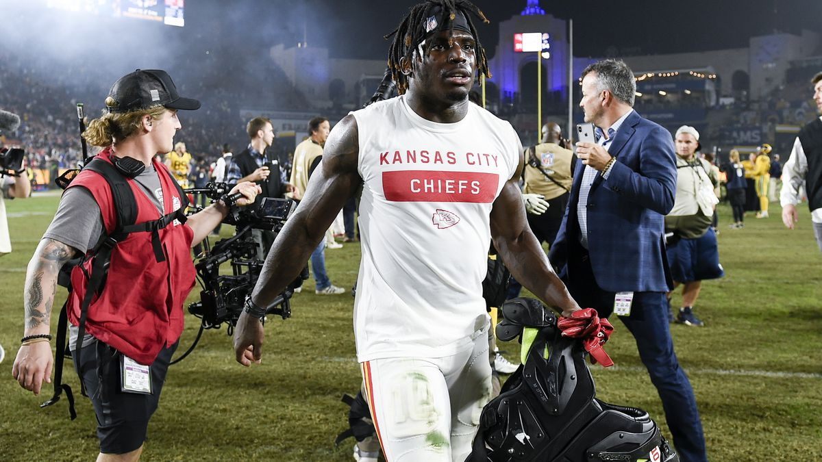 Kansas City Chiefs wide receiver Tyreek Hill walks off the field after an NFL football game against the Los Angeles Rams, Monday, Nov. 19, 2018, in Los Angeles. (AP Photo/Kelvin Kuo)