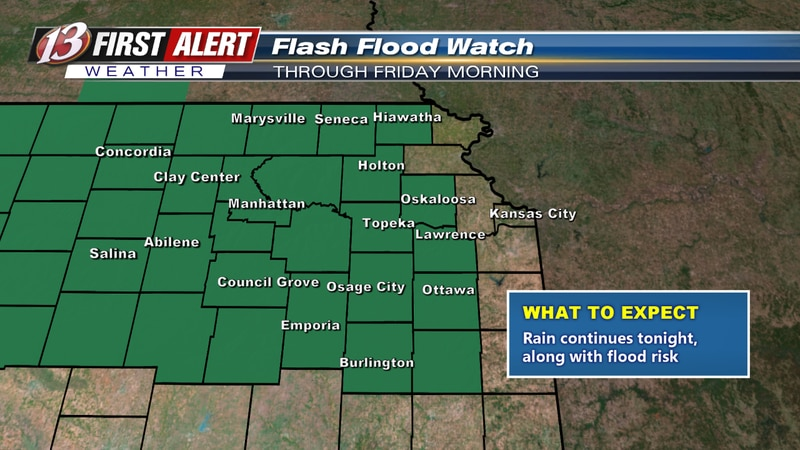 Flash Flood Watch for all of northeast Kansas through Friday morning.