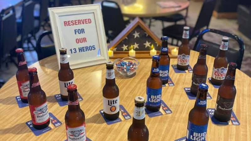 The Shack Bar & Grill reserves a table for fallen soldiers killed in Kabul terrorist attack.