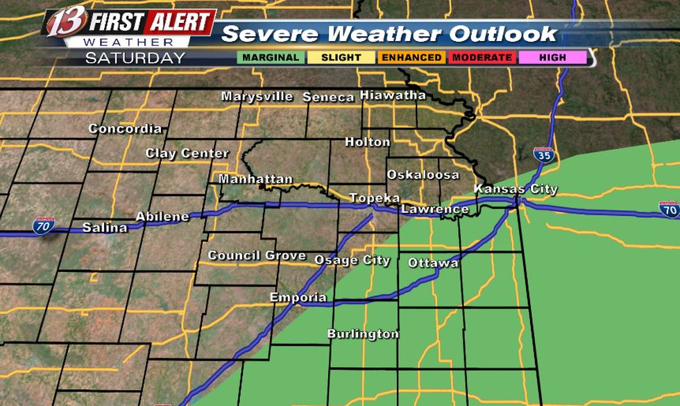 Hail/wind threat with any storms on Saturday (mainly in the morning)