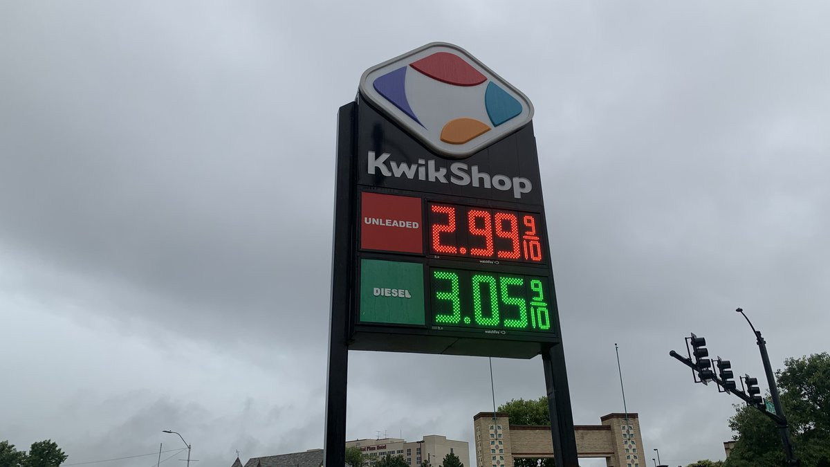 Gas on Thursday morning was going for $2.99 a gallon at some Topeka stations.