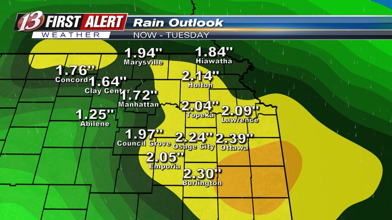 Rain outlook between now and Tuesday.