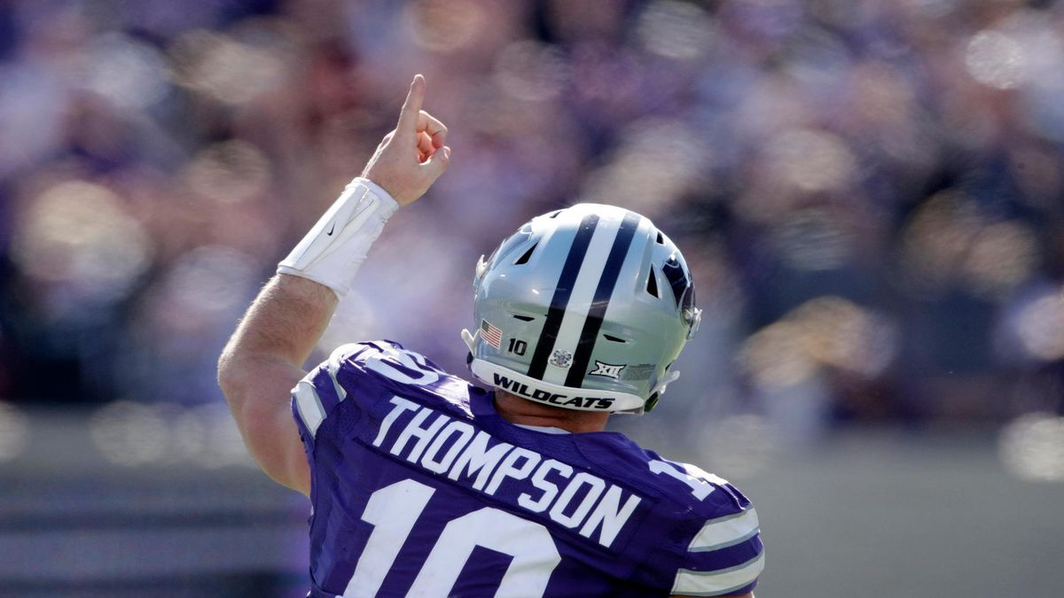 Kansas State quarterback Skylar Thompson (10) celebrates after scoring a touchdown during the second half of an NCAA college football game against Oklahoma, Saturday, Oct. 26, 2019, in Manhattan, Kan. Kansas State won 48-41. (AP Photo/Charlie Riedel)