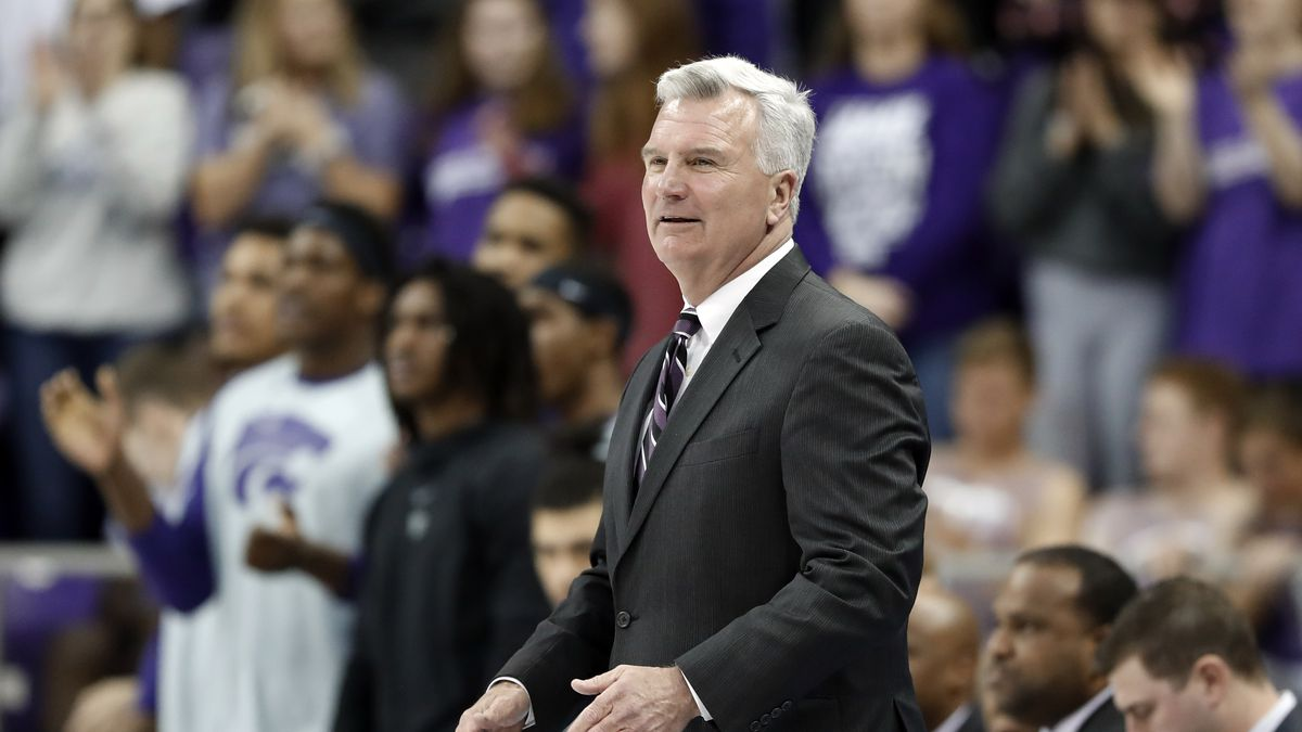Kansas State head coach Bruce Weber watches his team play during an NCAA college basketball game against TCU in Fort Worth, Texas, Monday, March 4, 2019. (AP Photo/Tony Gutierrez)