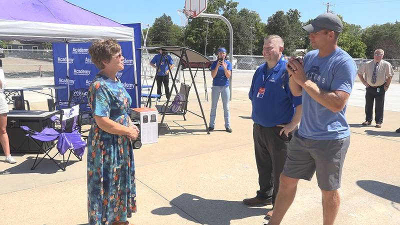 Janeil Sullivan was presented with outdoor accessories for her house as part of Academy Sports...