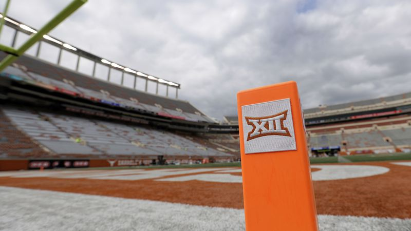 FILE - In this Oct. 7, 2017, file photo, a Big 12 pylon marks the end zone at Darrell K Royal...