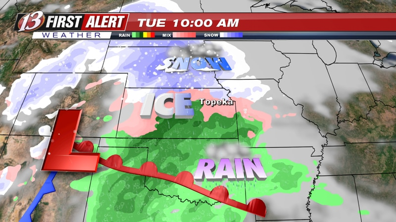 A storm system will bring a wintry mix to northeast Kansas Tuesday morning.