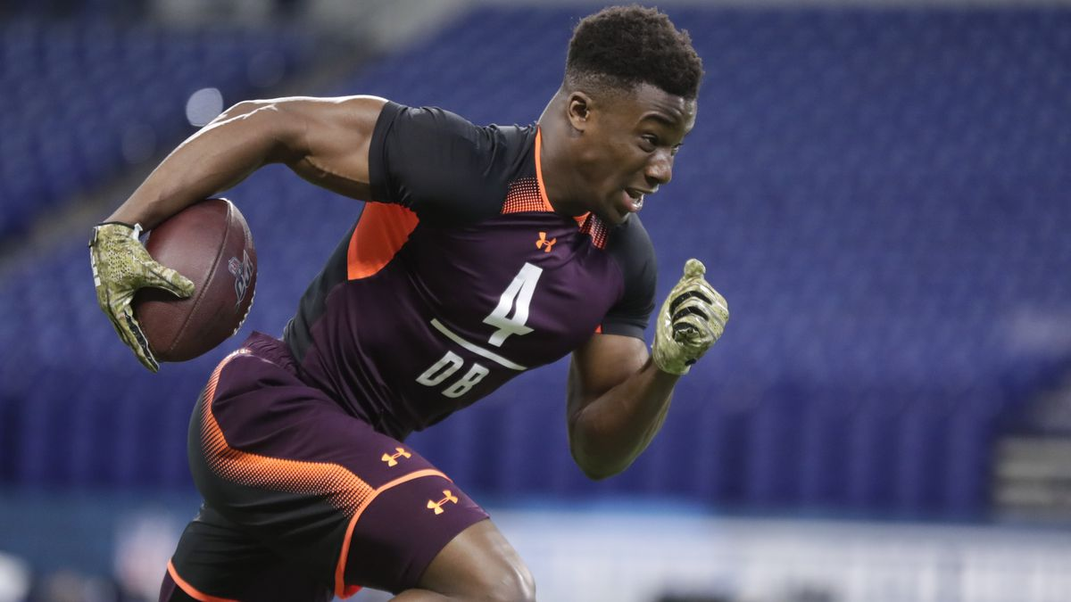Washburn defensive back Corey Ballentine runs a drill at the NFL football scouting combine in Indianapolis, Monday, March 4, 2019. (AP Photo/Michael Conroy)