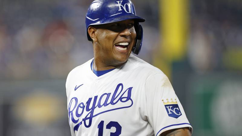 Kansas City Royals' Salvador Perez reacts after hitting an RBI single in the the eighth inning...