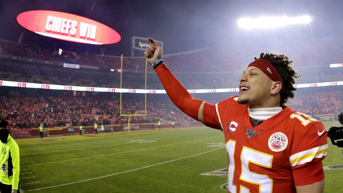 Kansas City Chiefs quarterback Patrick Mahomes celebrates as he comes off the field after an NFL divisional playoff football game against the Houston Texans Sunday, Jan. 12, 2020, in Kansas City, Mo. The Chiefs won 51-31. (AP Photo/Charlie Riedel)